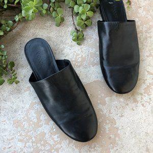 Vince Black Leather Slip On Mule Flats Slippers